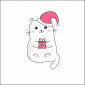 Kawaii Cute Thick White Cat With Pink Gift Box In Christmas Red Hat. Vector Illustration Of Anime St poster
