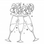 Vector Drawing Of Three Outline Toasting Champagne Glasses With Number 2020 In Black Isolated On Whi poster