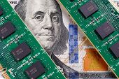 Two Memory Modules On A Bill Of 100 Dollars. Franklin Looks Anxiously At The Ram Modules. The Concep poster