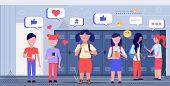 Mix Race Schoolchildren Using Online Mobile App Social Media Network Chat Bubble Communication Conce poster