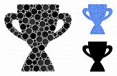 Prize Cup Mosaic Of Spheric Dots In Variable Sizes And Color Tints, Based On Prize Cup Icon. Vector  poster