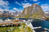 Hamnoy Village on Lofoten Islands,  Norway. The Typical Norwegian fishing village on Reinefjord,  Wi poster