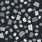 Grey Handbag Icon Isolated Seamless Pattern On Black Background. Female Handbag Sign. Glamour Casual poster