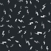 Grey Lightning Bolt Icon Isolated Seamless Pattern On Black Background. Flash Icon. Charge Flash Ico poster