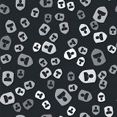 Grey User Protection Icon Isolated Seamless Pattern On Black Background. Secure User Login, Password poster