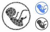 Human Embryo Composition Of Round Dots In Different Sizes And Shades, Based On Human Embryo Icon. Ve poster