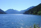 picture of olympic mountains  - a brilliant blue lake near olympic national park in washington state - JPG