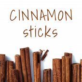 Cinnamon Sticks With Words Cinnamon Sticks - Sil Open Font License For Font . Top View Or Flat Lay.  poster