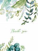 Watercolor Floral Illustration - Leaf Frame / Border, For Wedding Stationary, Greetings, Wallpapers, poster