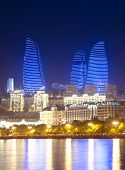 Baku Azerbaijan at Caspian sea-  night photo