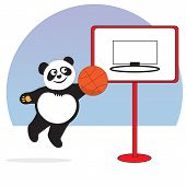 Panda Plays With A Basketball. The Panda Bear Plays Basketball, Throws The Ball Into The Ring Of A B poster