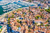 Croatia, Town Of Biograd On The Adriatic Sea, Aerial View Of Marina And Historic Town Center poster
