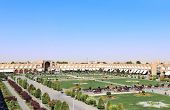 Grand bazaar on Naqsh-e Jahan Square (Shah Square, Imam Square), second biggest place of the world,  poster