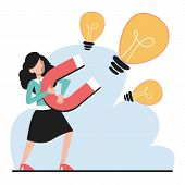 Businesswoman With A Giant Magnet Attract Idea Vector Isolated. poster