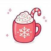 Cute Cartoon Hot Chocolate Or Coffee In Red Cup With Snowflake Ornament. Warm Seasonal Drink Doodle  poster