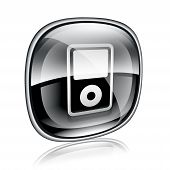 Mp3 Player Black Glass On White Background