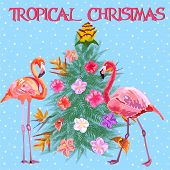 Tropical Christmas. Flamingo, Palm Leaves And Snowflakes. Template For Cards And Party Invitations.  poster