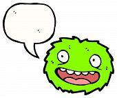 cartoon green furry creature poster