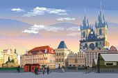 Colorful Vector Drawing Illustration. Cityscape Of Old Town Square And Tyn Church.  Landmark Of Prag poster