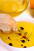 Dish Of Olive Oil With Balsamic Vinegar And Bread