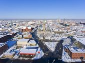 Lowell City Hall And Downtown Aerial View In Downtown Lowell, Massachusetts, Usa. poster