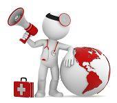 Médico com globo e megafone. Lado das Américas