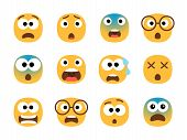 Scared Emoticon Faces. Vector Fearing Emoji Set, Fear Screaming Face, Nervous And Stress Cartoon Cha poster