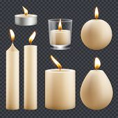 Candles Collection. Decorative Birthday Celebration Wax Candles Flame Different Types Vector Realist poster