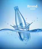 Bottle In Water. Liquid Flowing Wave With Transparent Bottle Splashes Drops Underwater Environment A poster