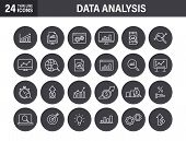 Set Of Data Analysis Web Icons In Line Style. Graphs, Analysis, Big Data, Growth, Chart, Research. V poster