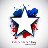 Illustration of American Independence Day of 4th July with star on grungy flag color background.EPS