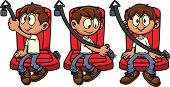 Cute cartoon kid fastening his seat-belt. Vector illustration with simple gradients. Each in a singl