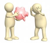 Conceptual image - financial crisis. Two puppets with empty piggy bank