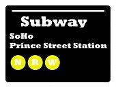 Soho Prince Street station subway sign isolated on white background, New York City, U.S.A.
