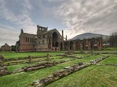 Melrose Abbey Outside Wide Corner Angle