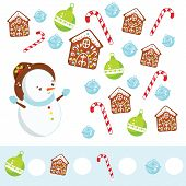 Mathematics Educational Children Game. Study Counting, Numbers, Addition. Christmas And Hew Year The poster
