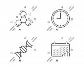 Chemistry Dna, Time And Chemistry Molecule Line Icons Set. Calendar Graph Sign. Chemical Formula, Of poster