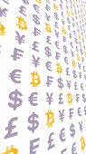 Bitcoin And Currency On A White Background. Digital Crypto Currency Symbol. Wave Effect, Currency Ma poster