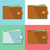 Wallet With Money Vector Illustration. Wallet Isolated On Colored Background. Brown Flat Wallet. poster