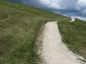 Footpath Leading Through A Green Alpine Pasture At Summer . La Villa, Bolzano, Alto Adige, South Tyr poster