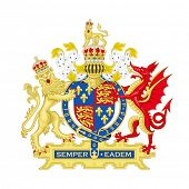 Lion and red dragon on English heraldic coat of arms, isolated on white background.