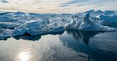 Drone photo of Iceberg and ice from glacier in arctic nature landscape on Greenland. Aerial photo dr poster