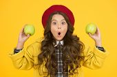 Wow Its Organic. Surprised Little Girl Yellow Background. Small Child Hold Organic Apples. Eating Na poster