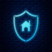 Glowing Neon House With Shield Icon Isolated On Brick Wall Background. Insurance Concept. Security,  poster