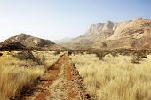 picture of steppes  - steppe with Erongo mountains in Namibia South Africa - JPG