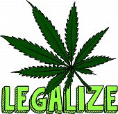image of bong  - Doodle style legalize marijuana leaf sketch in vector format - JPG