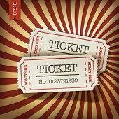 picture of production  - Cinema tickets on retro rays background - JPG