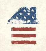House shaped american flag. Vector, EPS10