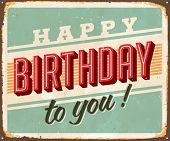 Vintage Birthday Metal Sign - Vector EPS10. Grunge and rust effects can be easily removed for a bran