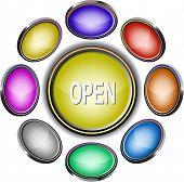 Open. Internet icons. Raster illustration.
